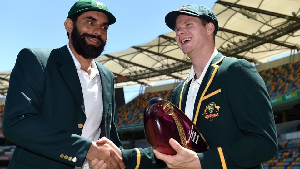 Australia's cricket team captain Steven Smith with his Pakistani counterpart Misbah-ul-Haq after a media call at Gabba in Brisbane.