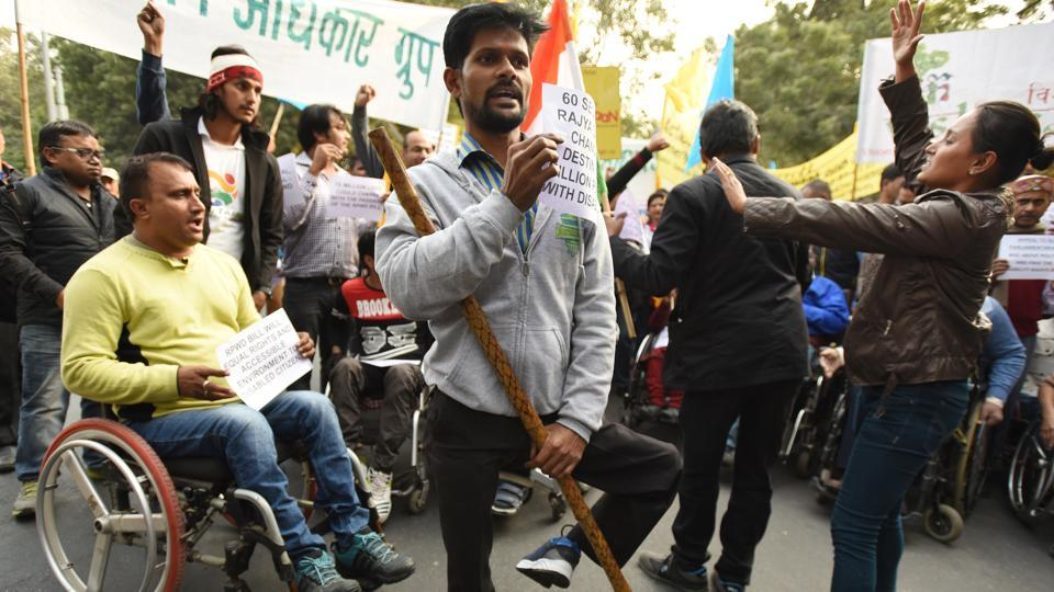 Disabled people take part in a solidarity rally asking parliamentarians to pass the Rights of Persons with Disabilities Bill, at Jantar Mantar in New Delhi on Tuesday.
