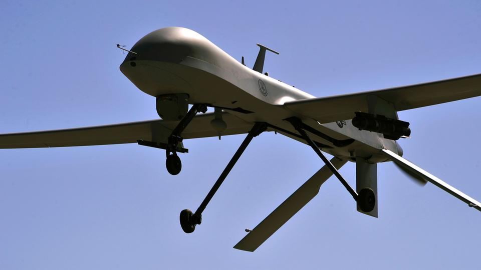 US Air Force MQ-1B Predator remotely piloted aircraft  flies overhead during a training mission in Nevada.