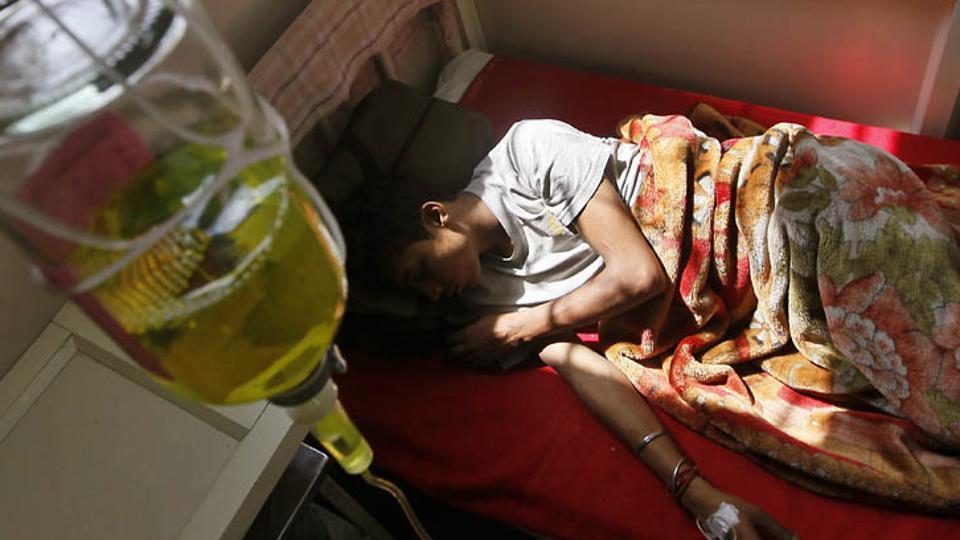 A drug addict undergoing treatment at a hospital.