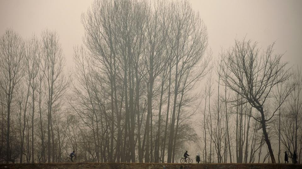 Kashmiri youths ride bicycles in Srinagar on December 9, 2016. The cold wave further tightened its grip in Jammu and Kashmir, with most places in the state recording sub-zero temperatures. (AFP)