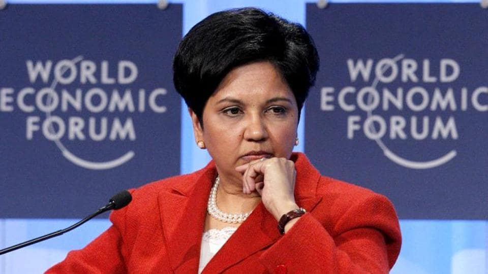 File photo of Indra Nooyi, CEO of PepsiCo, at the World Economic Forum in Davos.