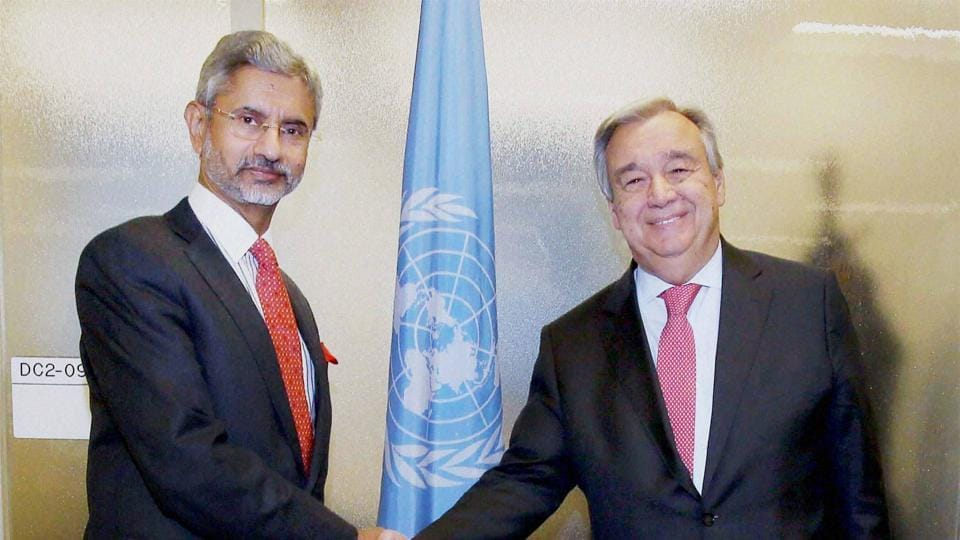 Subrahmanyam Jaishankar (left), India's foreign secretary calls on United Nation's secretary-general-designate, António Guterresor at the UN Secretariat in New York.