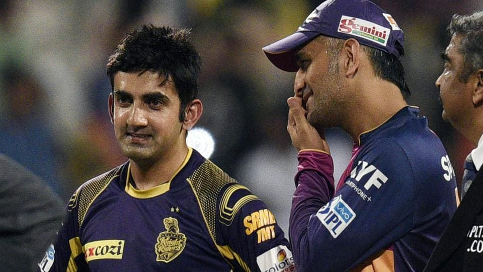 Mahendra Singh Dhoni (left) and Gautam Gambhir during an IPL match at Eden Gardens on May 14, 2016. (Photo by Subhendu Ghosh/ Hindustan Times)