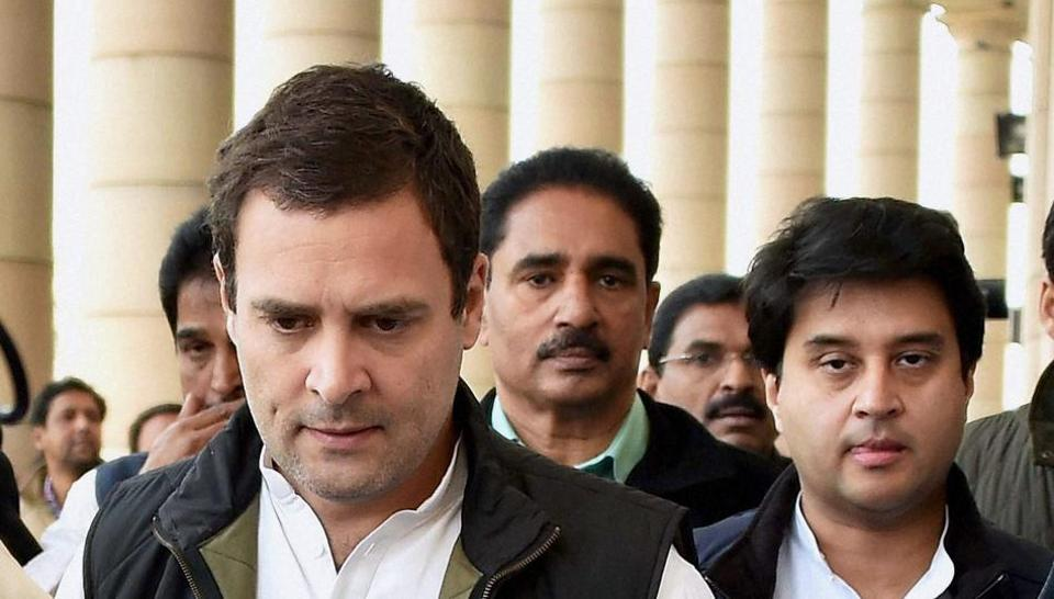 Congress vice-president Rahul Gandhi, along with party leader Jyotiraditya Scindia, walks to address a press conference at Parliament in New Delhi on Wednesday.