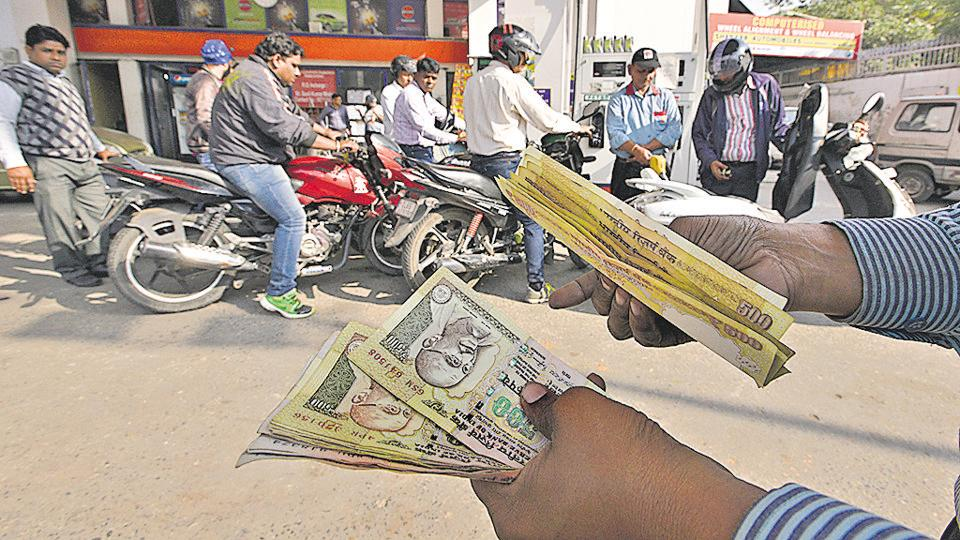 Petrol stations became the most sought after place as the government allowed banned currency here till December 2.