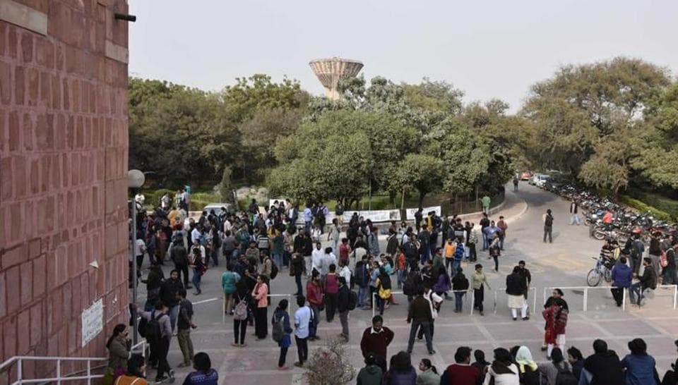 JNU Students during protest at JNU Campus against JNU Presidents Kanhaiya arrest by Delhi Police in New Delhi on February 12, 2016.