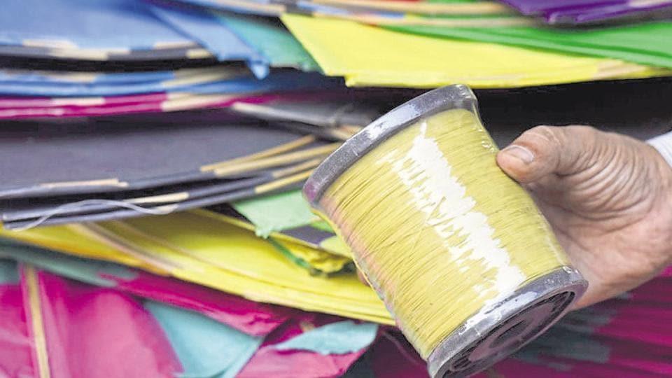 Chinese kite string (manja) on sale in Lal Kuan market in New Delhi.