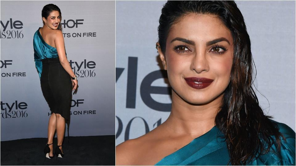 Priyanka at the 2nd Annual InStyle Awards at The Getty Center in a teal coloured satin top and black skirt paired. (Shutterstock)