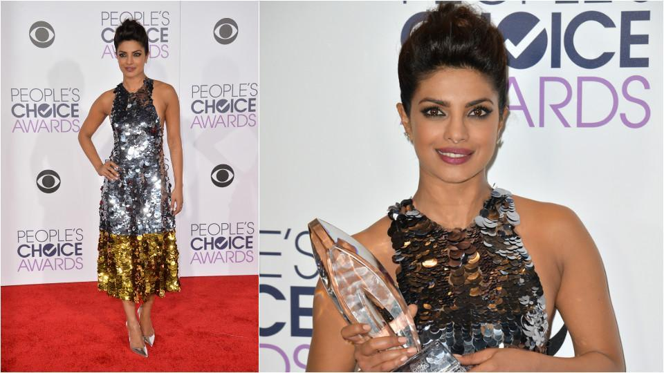 Priyanka in a Vera Wang dress at 2016 People's Choice Awards in Los Angeles. (Shutterstock)