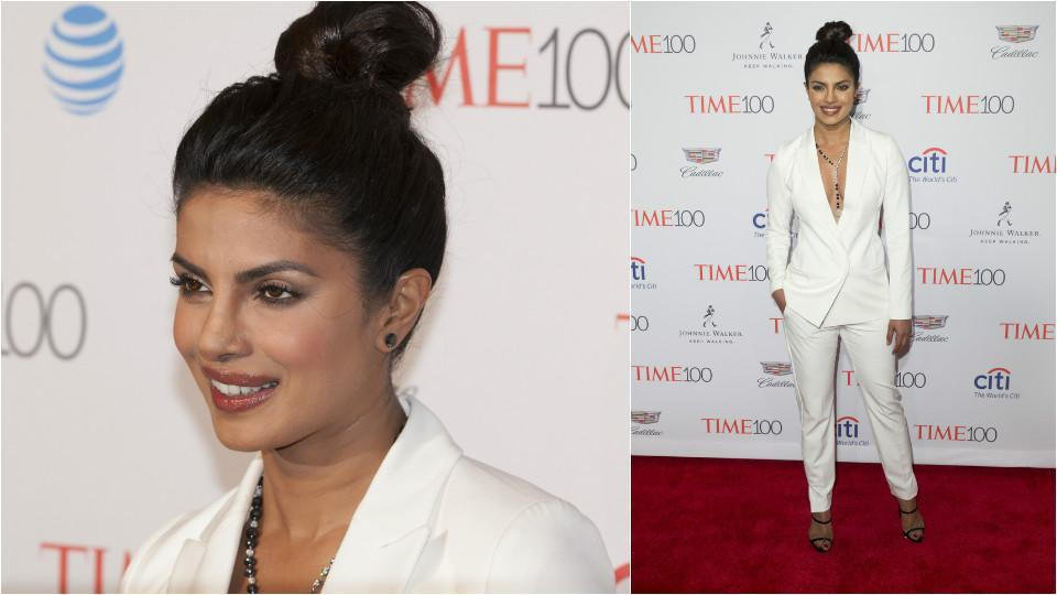 Priyanka attends Time 100 gala at Jazz at Lincoln Center in a white pant-suit. (Shutterstock)