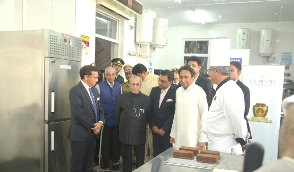 President Pranab Mukherjee at the apparel training and design centre in Chhindwara on Wednesday.