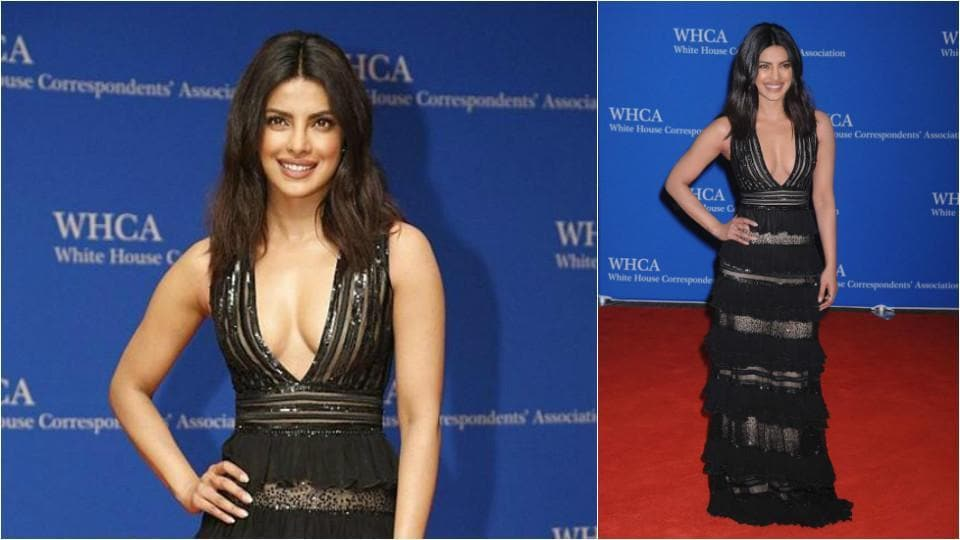 Priyanka wore this black, sheer dress to the White House Correspondents' Dinner. (Agencies)