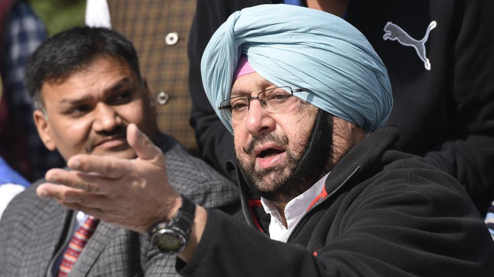 Punjab congress president and former chief minister Captain Amarinder Singh addresses a press conference in New Delhi.