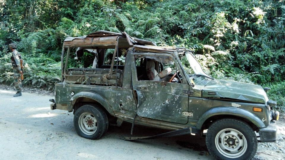 A damaged army vehicle after a convoy was ambushed in Assam in November.
