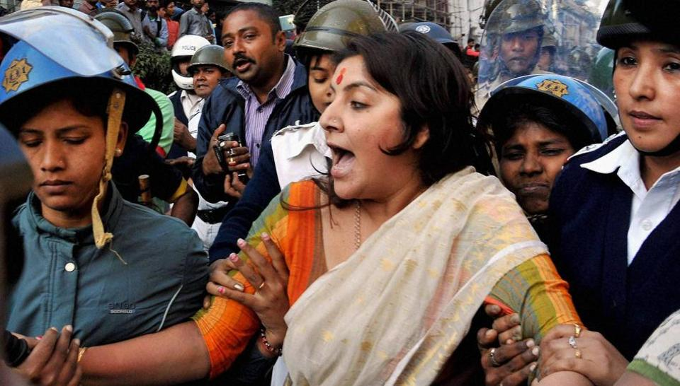 Actress turned BJP leader Locket Chatterjee being detained by police during protest rally against