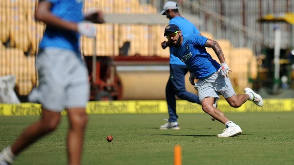 India's captain Virat Kohli runs during a training session ahead of the fifth cricket Test match. (AFP)