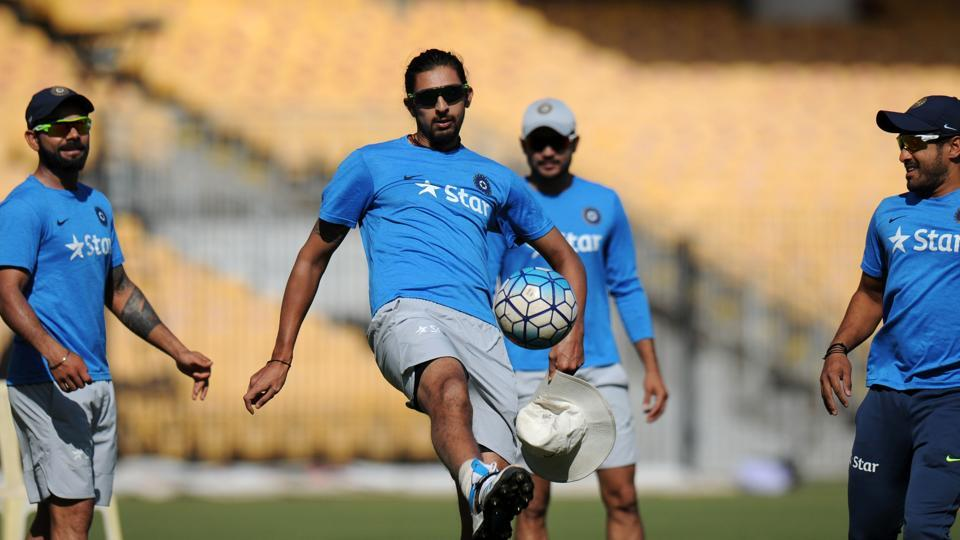 India's Ishant Sharma plays football with teammates during a training session ahead of the fifth cricket Test match between India and England. (AFP)