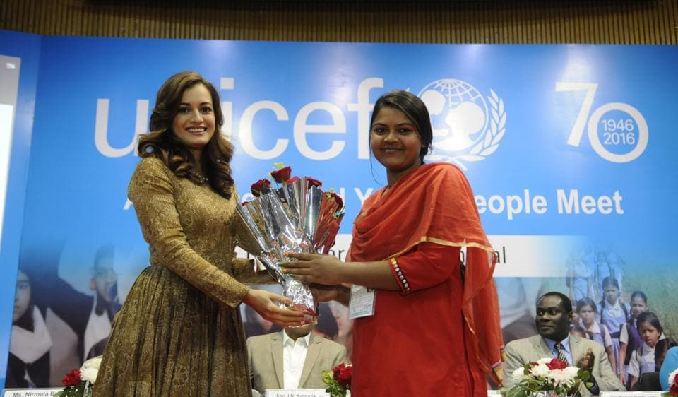 Dia Mirza is welcomed during the 70th foundation day celebrations of Unicef in Bhopal on Wednesday.