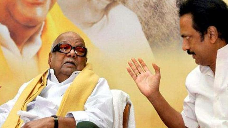 DMK chief M Karunanidhi with his son MK Stalin