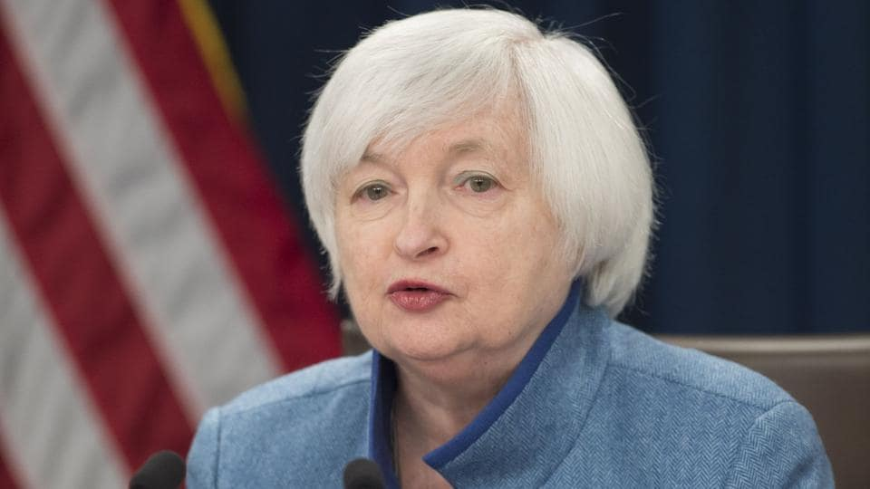 Federal Reserve Chair Janet Yellen speaks during a press conference following the announcement that the Fed will raise interest rates, in Washington.