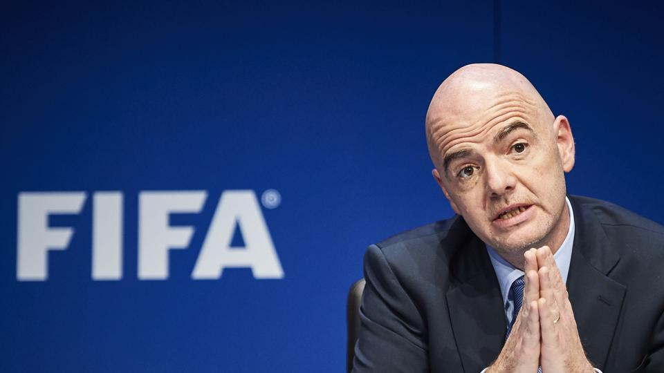 Fifa President Gianni Infantino giving a press conference following an executive meeting of the world football governing body.