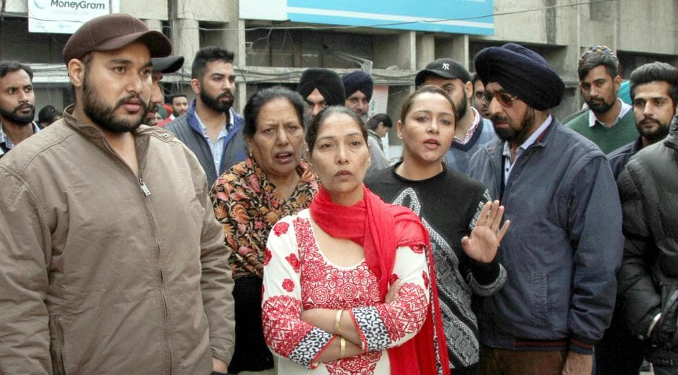 Family of the victim protesting against the attack on Aman Chicken corner outside the police commissioner's office in Ludhiana on Wednesday.