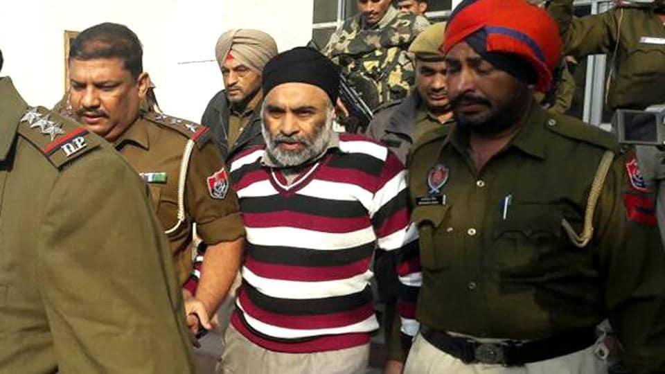 Harminder Singh Mintoo in Punjab police custodyin Nabha on Thursday.