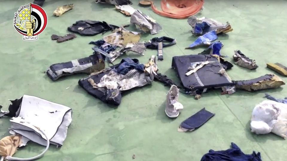 Personal belongings and other wreckage from EgyptAir flight 804 that was recovered in May 2016 after the plane crashed in the Mediterranean Sea, killing all 66 passengers and crew on board.