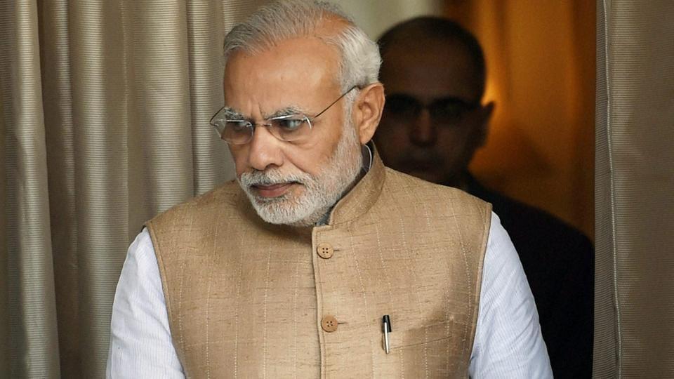 Prime Minister Narendra Modi at the Hyderabad House in New Delhi.
