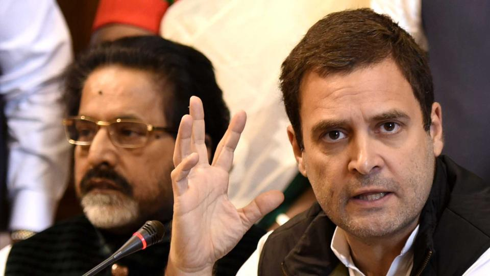 Congress vice president Rahul Gandhi addresses media at Parliament House in New Delhi.