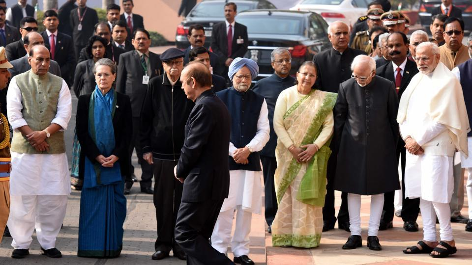 PM Modi, vice-president Hamid Ansari, Lok Sabha Speaker Sumitra Mahajan, former prime minister Manmohan Singh, home minister Rajnath Singh and Congress president Sonia Gandhi at the Parliament House in New Delhi.