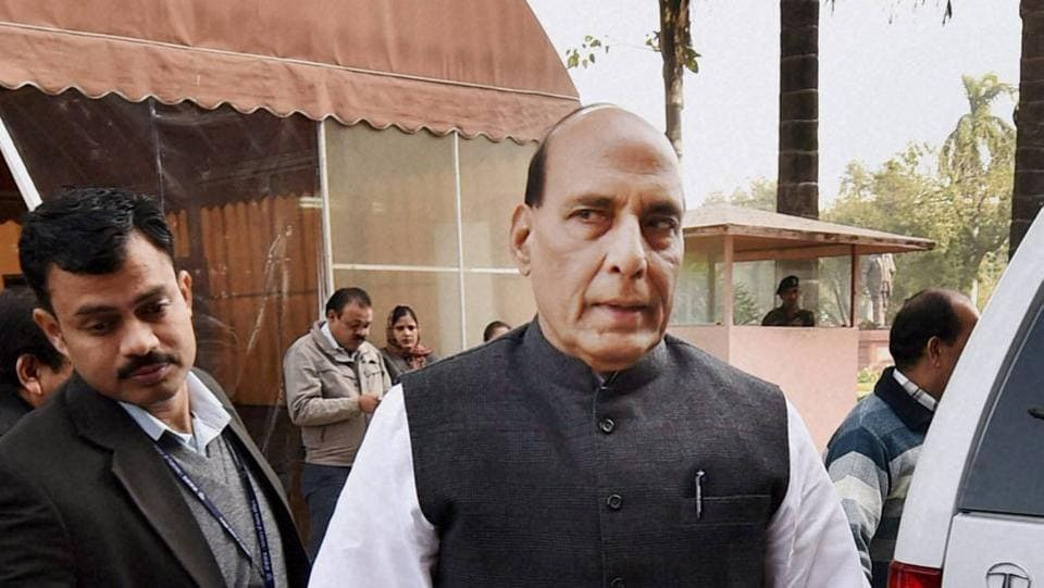 New Delhi: Home Minister Rajnath Singh at Parliament House during the winter session, in New Delhi on Thursday. PTI Photo by Shahbaz Khan(PTI12_15_2016_000097b)