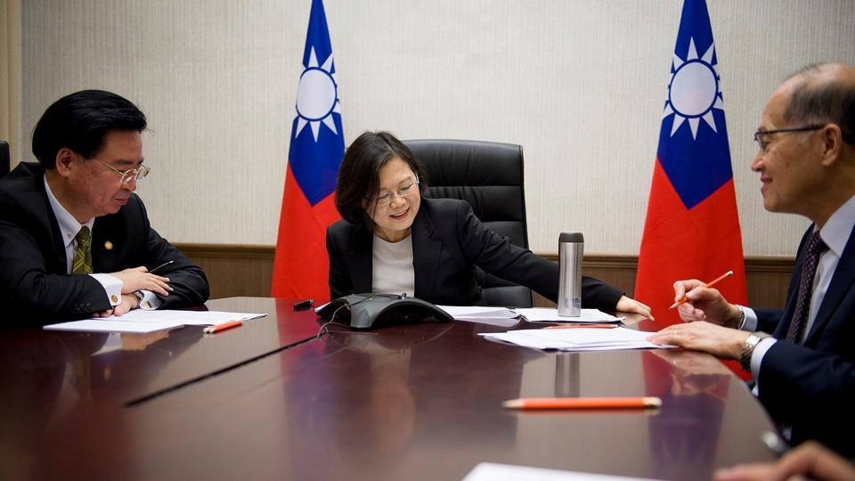 File photo of Taiwan President Tsai Ing-wen speaking on the phone with US president-elect Donald Trump at her office in Taipei earlier this month.