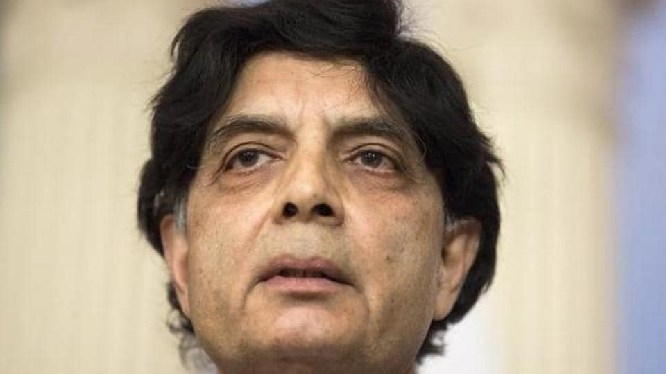 File photo of Pakistan's interior minister Chaudhry Nisar Ali Khan, who has been accused of meeting the head of three banned groups by an inquiry commission set up by the Supreme Court.