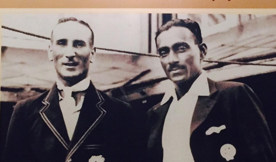 A photograph of the first home Test match, played in 1933, on the wall of the Bombay Gym bar. The photo shows captains of MCC and India DR Jardine (left) and CK Nayudu.