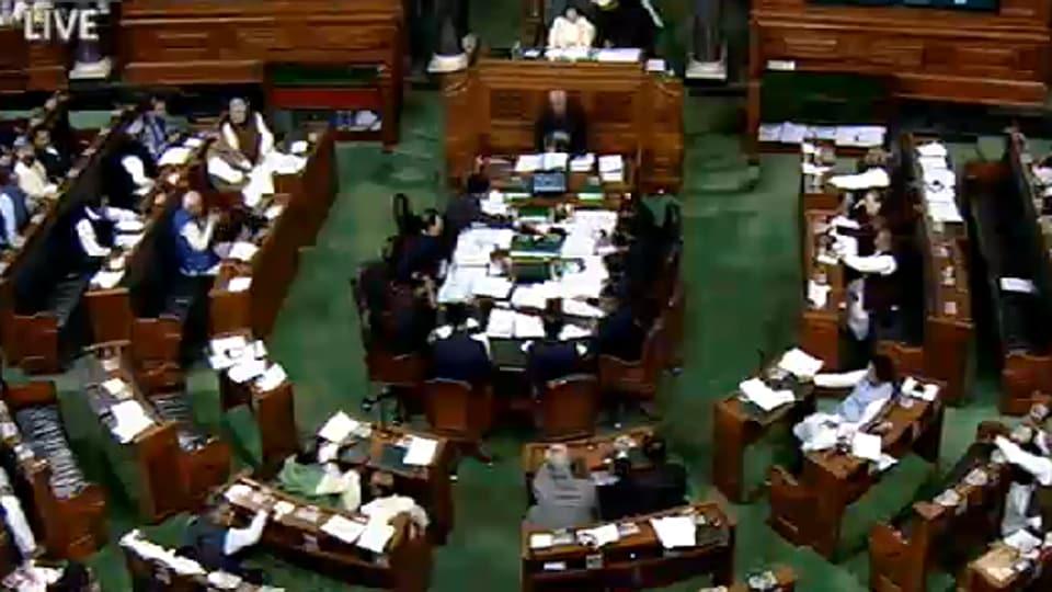 A general view of the Lok Sabha on last day of winter session, on Friday.