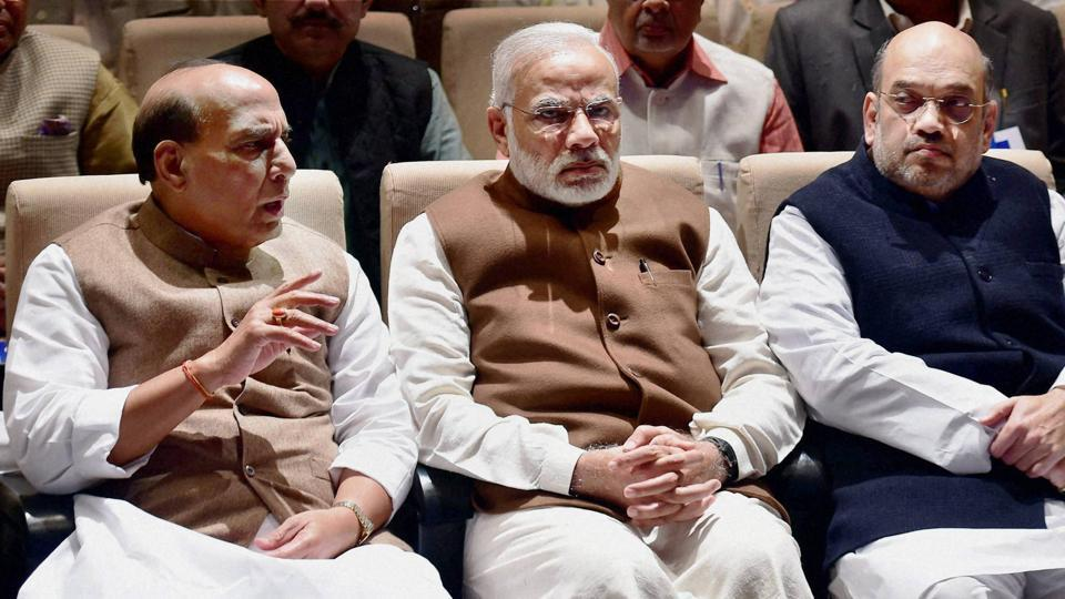 PM Narendra Modi, BJP president Amit Shah and home minister Rajnath Singh during BJP parliamentary party meeting in New Delhi.