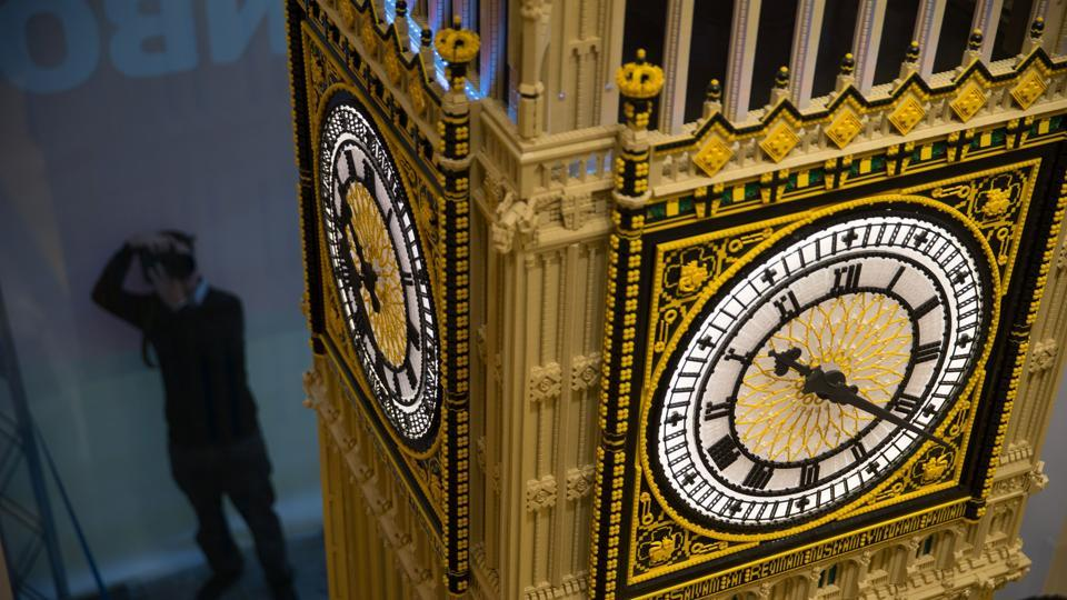 A replica of the Houses of Parliament's Elizabeth Tower, better known as  Big Ben, made from LEGO pieces in November 2016.