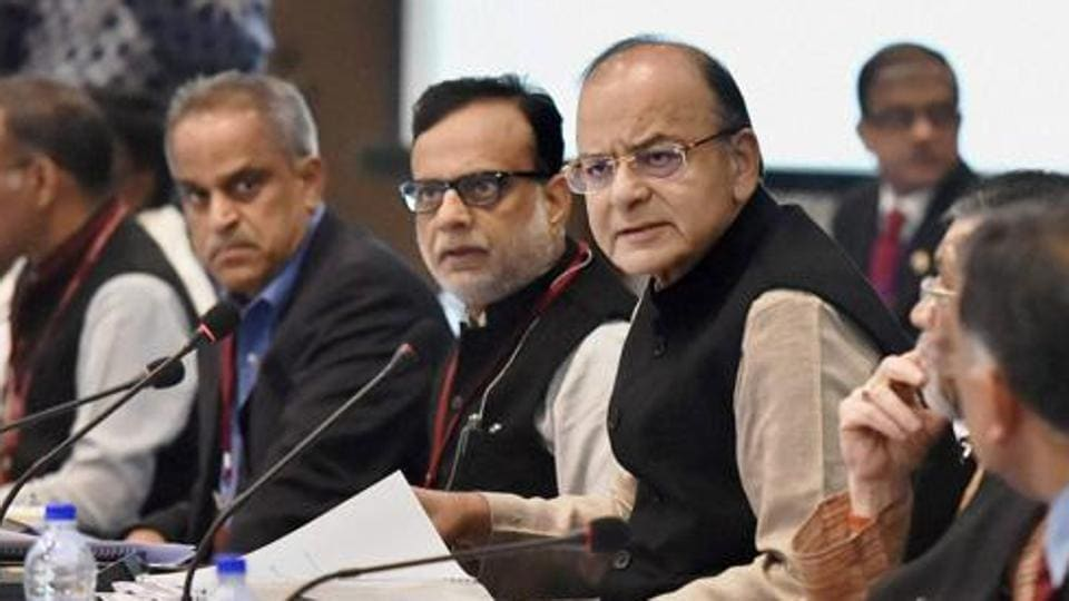 Union finance minister Arun Jaitley (centre) and revenue secretary Hasmukh Adhia (centre left) at a meeting in New Delhi earlier this month.