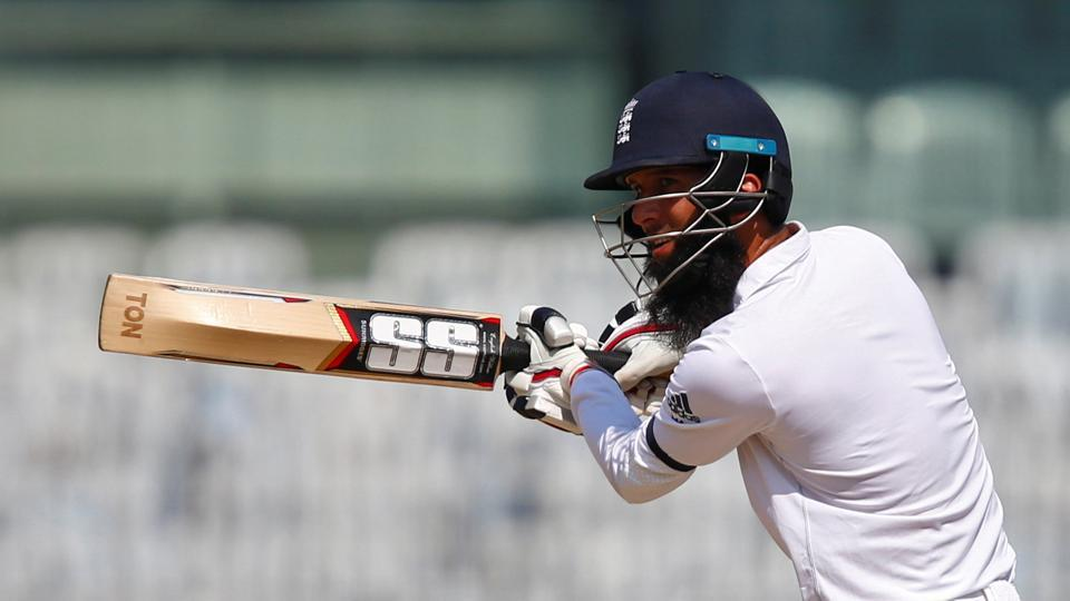 England's Moeen Ali steers one to the ropes during his unbeaten 120 on the first day of the fifth Test against India at the MA Chidambaram Stadium in Chennai.