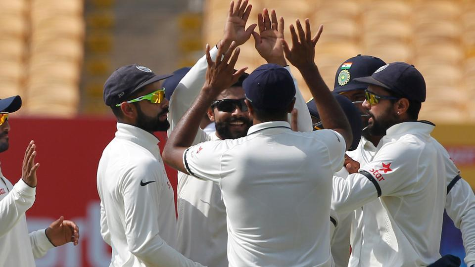 Ravindra Jadeja snapped up Alastair Cook and Joe Root to give India a slight advantage at tea on the first day of the fifth Test in Chennai.