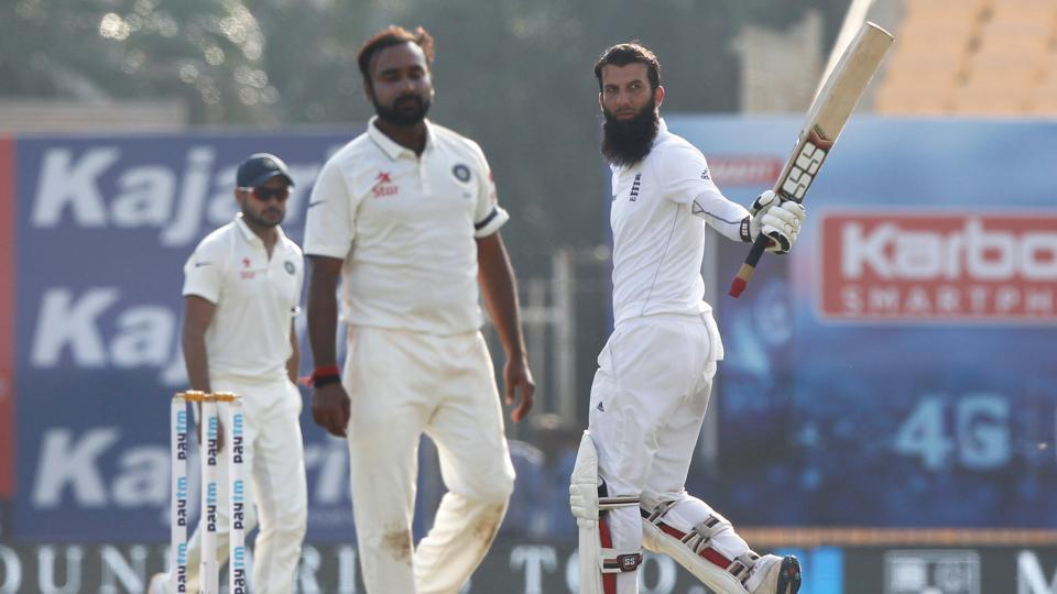 Moeen Ali notched up his fifth Test century and his second in the series as England held firm. (Photo by: BCCI)