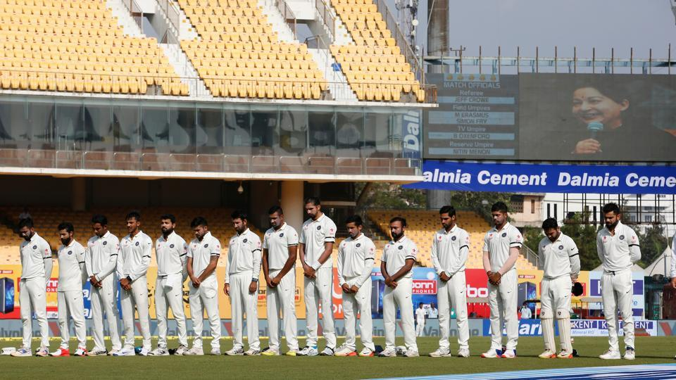 India and England players held a minute's silence to honour Tamil Nadu's most iconic politician, Jayalalithaa, who died on December 5. (Photo by: BCCI)