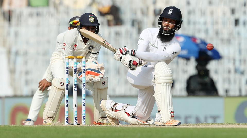 Moeen Ali of England during day one of the 5th test match between India and England held at the MA Chidambaram Stadium, Chennai.