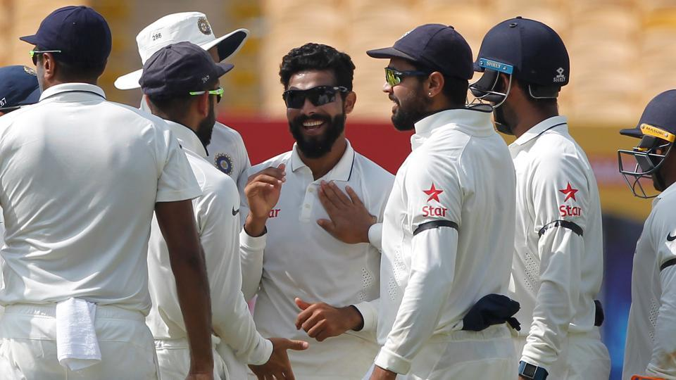 Ravindra Jadeja got the big wickets of Alastair Cook and Joe Root but England ended day one on top in Chennai. (Photo by: BCCI)