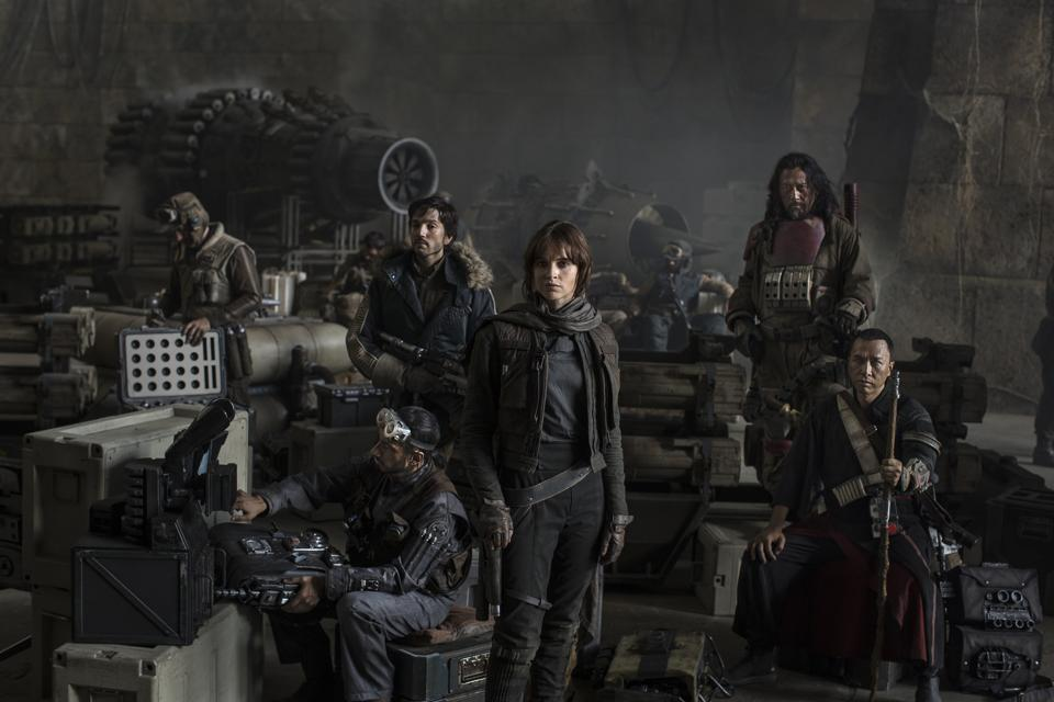 The resistance army, led by an idealist outsider (Felicity Jones), includes an intelligence officer (Diego Luna), a blind warrior monk (Donnie Yen) and his trigger-happy sidekick (Wen Jiang).