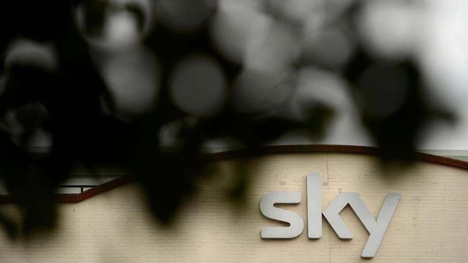 A photo shows a Sky sign on a building at the British Sky Broadcasting (BSkyB) headquarters in west London.