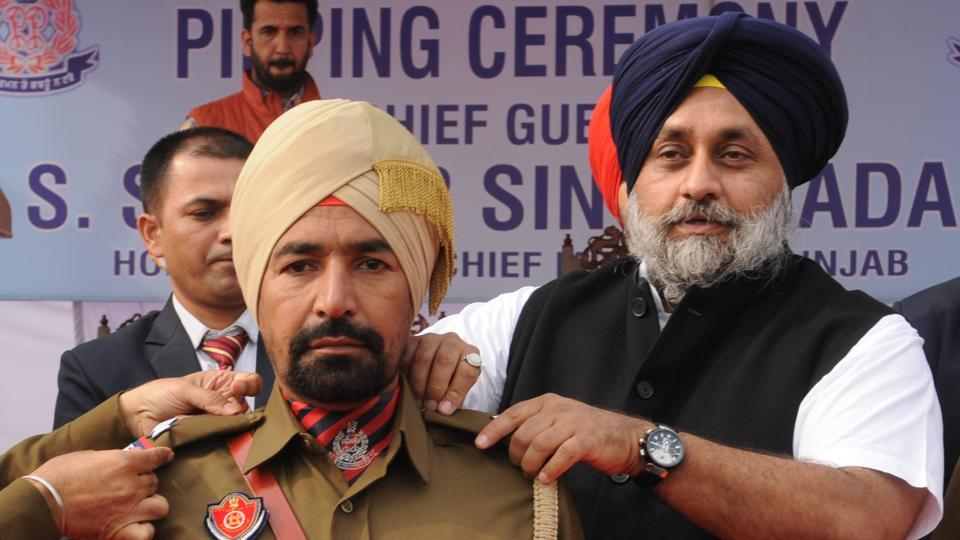 Deputy chief minister Sukhbir Singh Badal at a pipping ceremony of Punjab Police in Jalandhar on Thursday.