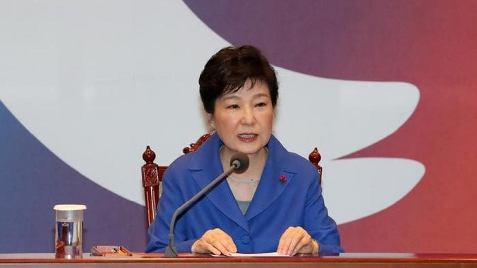 South Korean President Park Geun-hye speaks during an emergency cabinet meeting at the Presidential Blue House in Seoul, South Korea.